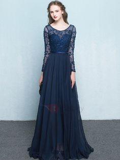 79c1b876012 Vintage Scoop Neck Long Sleeves Beading Evening Dress for female Dark Navy  Size US 8