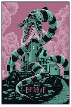 Classic 80s Movies, Vintage Movies, Halloween Movies, Halloween Art, Beetlejuice Movie, Beetlejuice Sandworm, 80s Movie Posters, Horror Posters, Film Poster