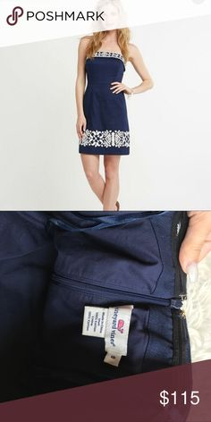 BOGO❤️Nautical embroidered strapless dress So cute! Retails for $198. Open to offers. Vineyard Vines Dresses Strapless