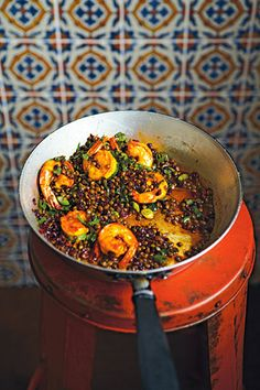 Barberry and posh prawns with lentils