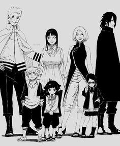 Naruto,Hinata,Boruto y Himawari,Sakura,Sasuke y Sarada Naruto Uzumaki, Anime Naruto, Naruto And Sasuke, Naruto Gaiden, Sarada Uchiha, Sakura And Sasuke, Naruto Art, Naruhina, Kakashi