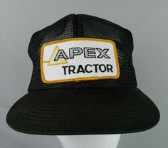 0ef7f64c Apex Tractor Mesh Trucker Hat Snap Back 1980s Black Patch on Front K-Brand #