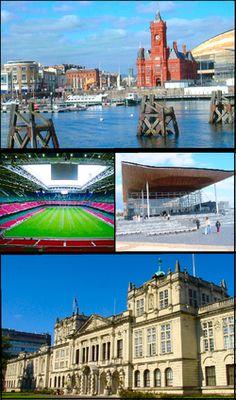 Cardiff Montaje.png // Cardiff (/ˈkɑrdɪf/) en galés: Caerdydd) es la capital de Gales (Reino Unido), así como el centro comercial, cultural, deportivo, educativo y mediático más importante del país.