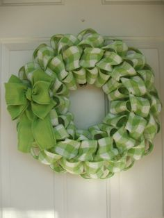 St. Patricks Day, Spring, Easter, Faux Burlap Green Gingham Wreath  #2014 #st #Patricks #Day #craft #decor www.loveitsomuch.com