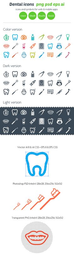 Dental icons by Ottoson , via Behance. Die wil ik wel op whatsapp en facebook :)