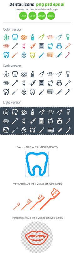 Dental icons by Ottoson , via Behance. Die wil ik wel op whatsapp en facebook :)