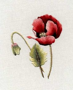 … a red poppy, a project more suited to intermediate level embroiderers who have already tried thread painting.