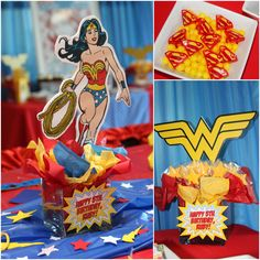 "Awesome ""Wonder Woman"" Birthday Party! on http://pizzazzerie.com ( WIsh I would have had Pinterest back when I did my Mom's Wonder Woman Party)"