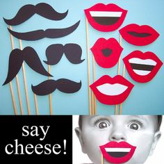 Set of 10 Photo Booth Props - Lip and Mustache Combo. $15.00, via Etsy.
