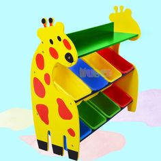 Adorable Giraffe Toy Storage Shelf with Multiple Storage Bins