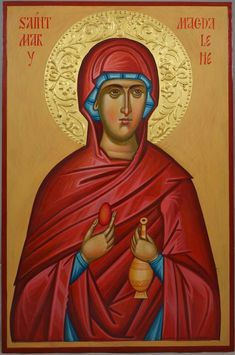 St Mary Magdalene (halo relief) Hand-Painted Byzantine Icon