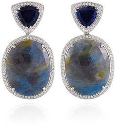 Dana Rebecca Lolite, Blue Sapphire, And Diamonds Earrings In White Gold #fashion #style