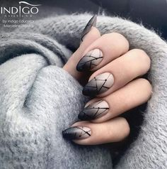 "Source by "" title=""Beautiful almond black ombre nails! Source by "" title=""Beautiful almond black ombre nails! Nail Art Designs, Nails Design, Salon Design, Diy Design, Nail Shapes Squoval, Nails Shape, Stars Nails, Black Ombre Nails, Black Manicure"