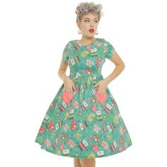'Brittany' Teal Study Print Love Heart Swing Dress -  from Lindy Bop UK