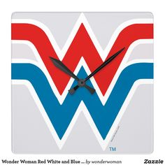 Shop Wonder Woman Red White and Blue Logo Square Wall Clock created by wonderwoman. Personalize it with photos & text or purchase as is! Red And Blue Logo, Red And White, Pop Art Design, Art Designs, Graphic Design, Wonder Woman Logo, How To Make Wall Clock, Cool Logo, Hand Coloring