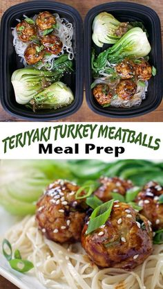 Teriyaki Turkey Meatballs with Sweet Potato Noodles and Braised Bok Choy - an easy, high protein and healthy teriyaki dish that works great in your weekly meal prep! Lean Protein Meals, High Protein Meal Prep, Protein Lunch, High Protein Recipes, Healthy Meal Prep, Healthy Eating, Healthy Recipes, Healthy Protein, Protein Foods