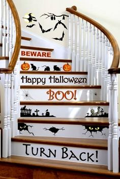 halloween decor for stair steps
