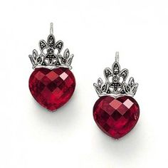 Thomas Sabo Marcasite Fleur De Lis Crown & Red Heart Drop Earrings