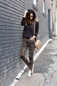 Casual + chic look in black and camo via For All Things Lovely | Tee: Nordstrom {only $38!} | Denim: Zara | Sneakers: Golden Goose | Bralette: Anine Bing | Handbag: Gucci | Watch: Michele | Bracelet Stack: David Yurman | Sunglasses: Ray Ban | Rings: David Yurman