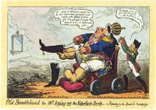 Cruikshank - Old Bumblehead - Louis XVIII préparant la campagne d'Espagne de 1823.