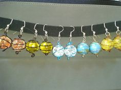 Wire wrapped cracked marble earrings