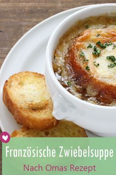 French Onion Soup: The recipe from Grandma& cookbook- Französische Zwiebelsuppe: Das Rezept aus Omas Kochbuch French Onion Soup: The recipe from Grandma& cookbook. Easy Soup Recipes, Cookbook Recipes, Greek Recipes, New Recipes, Snack Recipes, French Recipes, Quick And Easy Soup, Nutritious Snacks, Healthy Meals