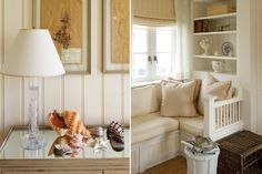 Walls dressed in wooden planks with beaded edges are both modern and charming when painted in a clean white shade.