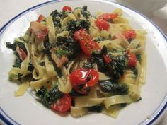 Fettucine with Spinach, Grape Tomatoes and Bacon