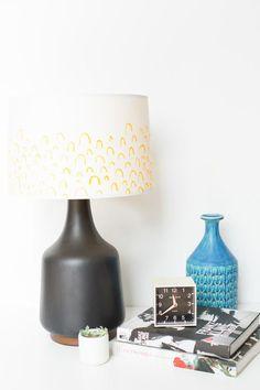 Bright idea: dress up a plain cotton lampshade with heat-set fabric dye sticks. #DIY