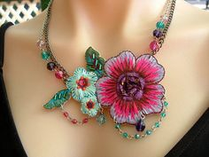 Statement Necklace with Bright Applique Fabric ♥ by KillerJewels
