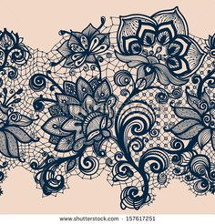 Abstract Lace Ribbon Seamless Pattern. Template frame design for card. Lace Doily.