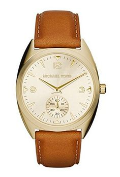 Michael Kors Callie Champagne Dial Tan Leather Ladies Watch MK2373 * Want additional info? Click on the image.