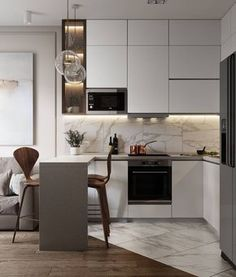 Beautiful small kitchen design ideas and decor 27 Kitchen Room Design, Kitchen Cabinet Design, Modern Kitchen Design, Home Decor Kitchen, Interior Design Kitchen, Home Design, Home Kitchens, Small Apartment Interior, Apartment Kitchen