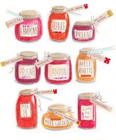 Jam jars, illustration by Ania Simeone