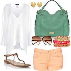 cute and comfortable, created by mander298 on Polyvore. I have a thing for coral and green!