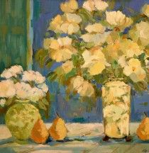 Yellow Vase with Pear by Antonia Walker (22x24, oil)