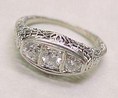 Art Deco Diamond Ring18K White Gold Filigree .45 ctw / 3 Stone