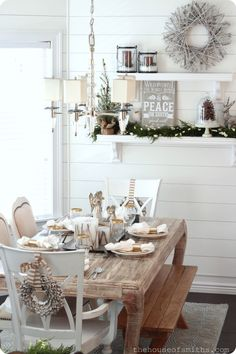 Weathered finish table complement the snow-white paneled wall. Woodsy Winter Wonderland - Christmas Decor 2012