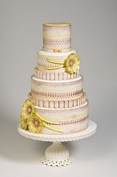Queen of Cakes' Feminine Pink & Yellow Wedding Cake