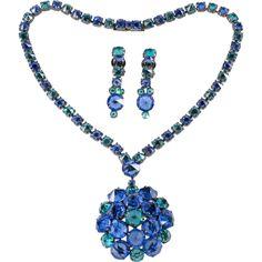Kramer Blue Green Rhinestone Necklace Earrings Set Vintage