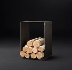 RH's Marcus Square Wood Holder:Modern art for the hearth. Forged of solid iron, our wood holders present a spare, streamlined sensibility.