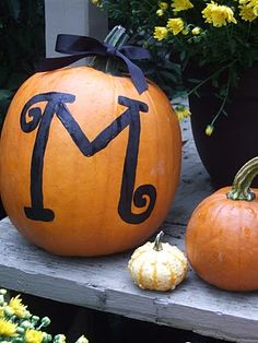 Monogrammed pumpkins..... Love! Also cute with house number. As a pair on the front steps!