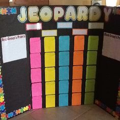 Jeopardy board for concept review and other review activities.