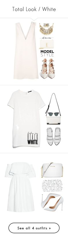 """""""Total Look / White"""" by ceciliairenemayer ❤ liked on Polyvore featuring Gianvito Rossi, Valentino, Yves Saint Laurent, Sole Society, vintage, Alexander Wang, MANGO, Ray-Ban, Michael Kors and Lipsy"""
