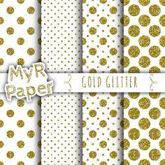 "Gold glitter digital paper: ""Gold Glitter"" White & Gold Polka Dots and Glitter 50% OFF SALE MyRpaper 0.70 EUR"