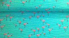 Stoff Tiermotive - Jersey Jerseystoff Flamingo türkisblau pink - ein Designerstück von Stoffe-guenstig-kaufen bei DaWanda