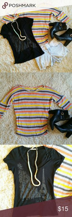 One Clothing M Striped Sweater One Clothing size M striped 3/4 sleeve knit sweater + bonus One Clothing size M printed t-shirt! Sweater has some rushing on the side, creates a nice fall for the waist. Sweater is in excellent conditon. T-shirt has eiffel tower scene on frontside, good condition. one clothing Sweaters Crew & Scoop Necks