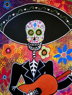 Mariachi Dia de los Muertos ...Original painting for auction..ending soon.Visit EBAY, search for PRISARTS for new and original paintings for sale