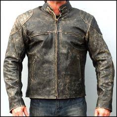 Mens Antique Black Vintage Retro Distressed Moto Biker MC Leather Jacket Worn #Handmade #Motorcycle