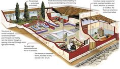 cross section of a typical Roman house Ancient Rome, Ancient Greece, Ancient History, Roman Architecture, Ancient Architecture, Villa Romaine, Rome City, Roman History, Mystery Of History
